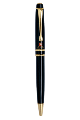 SWISS MILITARY Ball Pen 23B Ball Pen, Gold Plated With Black Lacquer Finish