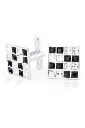 MAHIMahi Black & White Rhodium Plated Made With Swarovski Elements Cufflinks -CL1100201R
