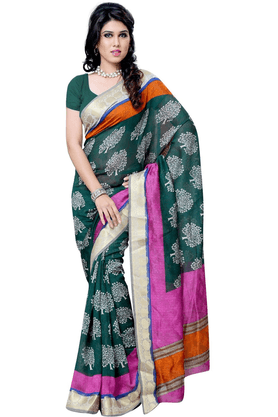 DEMARCA De Marca Green::Pink Art Silk Designer DF-504C Saree