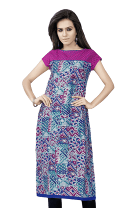 DEMARCA Womens Printed Kurta (Buy Any Demarca Product & Get A Pair Of Matching Earrings Free) - 200936927