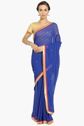 Womens Georgette Stripe Embellished Saree With Blouse Piece
