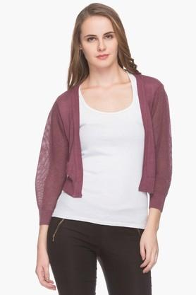PARK AVENUE Womens Open Front Solid Knitted Cardigan