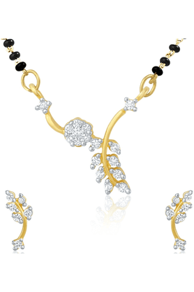 MAHI Gold Plated Mangalsutra Pendant Set With CZ For Women NL1101581G