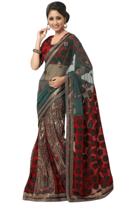 DEMARCA Women Georgette+Net Saree