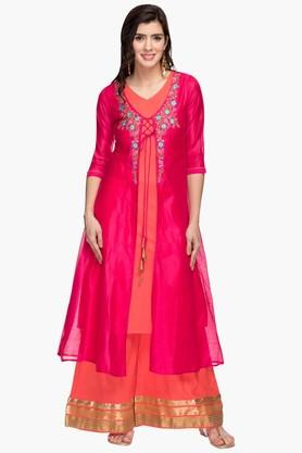 Womens V Neck Solid Embroidered Kurta and Palazzo Set