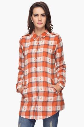 Womens Check Regular Collar Shirt
