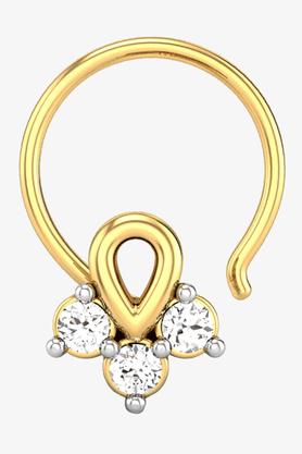 VELVETCASEWomens 18 Karat Yellow Gold Nose Ring (Free Diamond Pendant) - 201064997