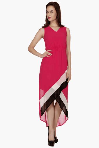 Womens Slim Fit Colour Block Dress