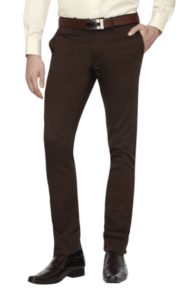 INDIAN TERRAINMens Flat Front Slim Fit Solid Chinos - 200699342