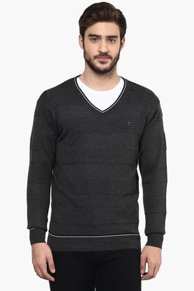 LOUIS PHILIPPE SPORTSMens V Neck Stripe Sweater - 201253797