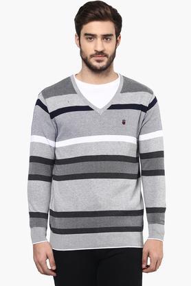LOUIS PHILIPPE SPORTSMens V Neck Stripe Sweater