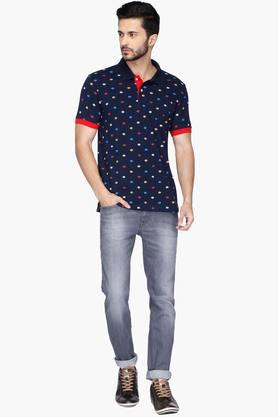 Mens Regular Fit Printed Polo Anti UV T-Shirt