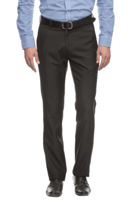 RS BY ROCKY STARMens Flat Front Slim Fit Solid Formal Trousers