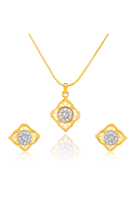 MAHI Mahi Gold Plated Delightful Rose Pendant Set With Crystals For Women NL1101779G