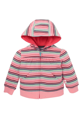 MOTHERCARE Girls Cotton Rich Striped Hoodie Jacket