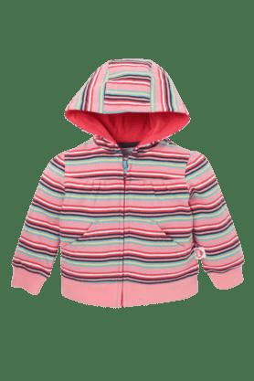 MOTHERCAREGirls Cotton Rich Striped Hoodie Jacket