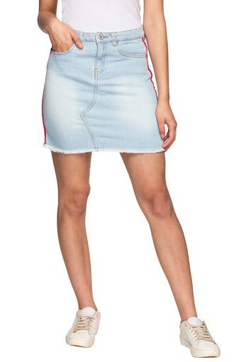 Womens Mild Wash Side Tape Pencil Skirt