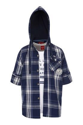 Boys Hooded Neck Check Shirt with Tee