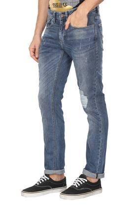 Mens 5 Pocket Mild Wash Distressed Jeans