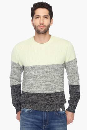 UNITED COLORS OF BENETTON Mens Regular Fit Colour Block Knitted Sweater