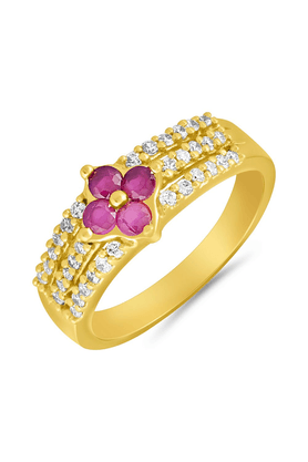 MAHI Mahi Gold Plated Creative Melange Finger Ring With Ruby For Women FR1100646G