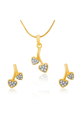 MAHI Mahi Gold Plated Double Hanging Hearts Pendant Set With Crystals For Women NL1101772GWhi