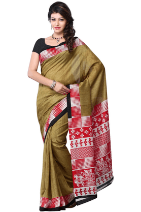 DEMARCA De Marca Beige::Red Art Silk Designer DF-449B Saree