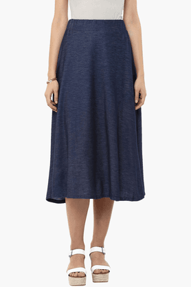 109F Womens Slub Flared Skirt