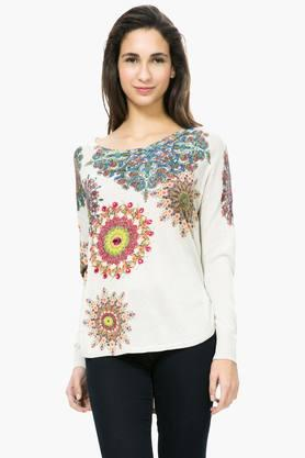 DESIGUAL Womens Round Neck Printed Embellished Sweater