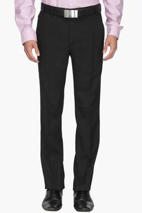 WILLS LIFESTYLE Mens Slim Fit 4 Pocket Solid Formal Trousers - 202270581