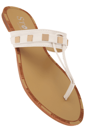 STOP Womens White Slipon Fancy Flat Sandal