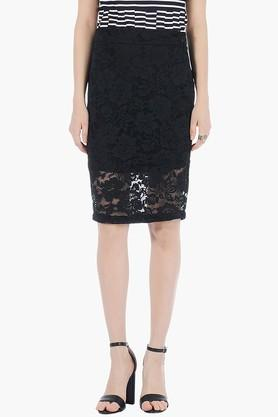 FABALLEY Womens Lace Knee Length Skirt - 201993914