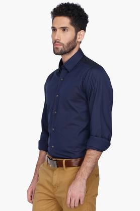 Mens Solid Regular Collar Shirt