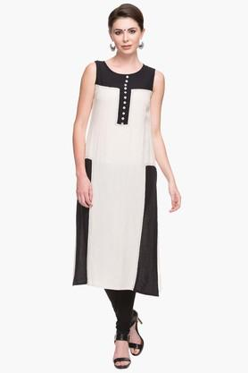 IMARA Womens Round Neck Colour Block Kurta  ...