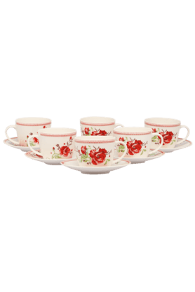 DEVON NORTH Red Poppy 12 Pcs Cup & Saucer