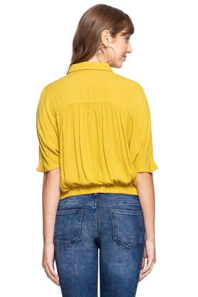 Womens Collared Slub Tie Up Shirt