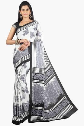 JASHNWomen Crepe Floral Printed Saree