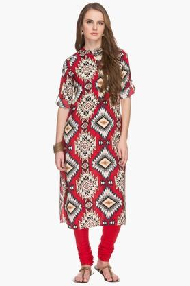 HAUTE CURRY Womens Mandarin Neck Printed Kurta - 201533275