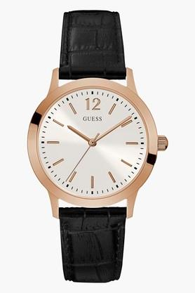 GUESS Rose Gold Tone Genuine Leather Exchange Watch W0922G6