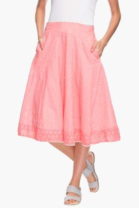 IMARA Womens Self Pattern Flared Skirt