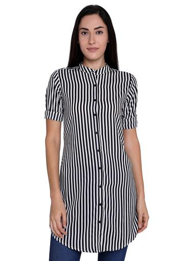 Womens Slim Fit Mandarin Collar Striped Tunic