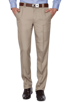 WILLS LIFESTYLE Mens Slim Fit Solid Formal Trouser