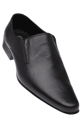 FRANCO LEONE Mens Black Leather Formal Shoes