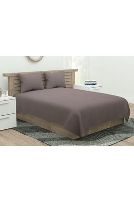 Occasions Solid King Bed Sheet with 2 Pillow Covers