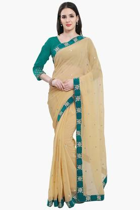 Women Faux Georgette With Lace Embroidered Saree - 202447325