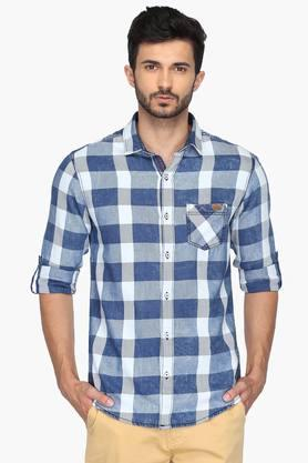 Mufti Formal Shirts (Men's) - Mens Regular Collar Check Shirt