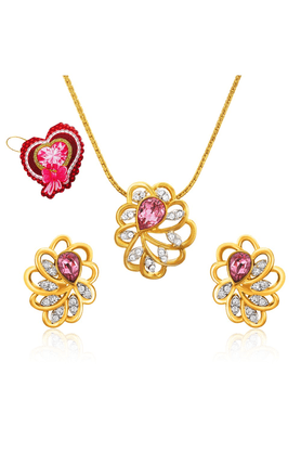 MAHI Mahi Valentine GiftLove Pink Marigold Flower Pendant Set Made With Swarovski Elements With Heart Shaped Card For Women NL5104128GPinWhiCd