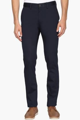 ALLEN SOLLY Mens Slim Fit 5 Pocket Solid Trousers