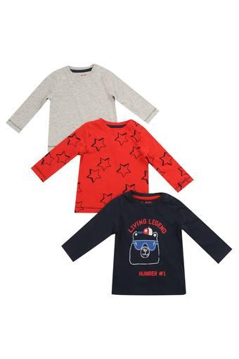 Boys Round Neck Printed and Slub Tees - Pack of 3