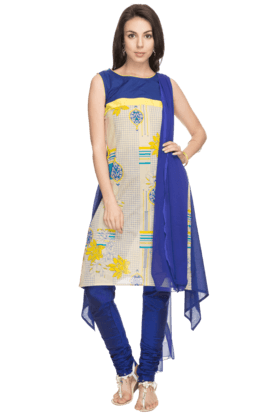 HAUTE CURRY Women Printed Churidar Suit - 201031801